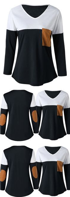 V Neck Elbow Patch Top