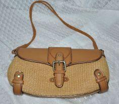 BCBG Handbag Brown Weave Baguette Purse Small Leather Hemp Buckle Front