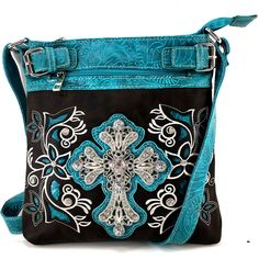 Justin West Embroidery Floral Rhinestone Silver Cross Laser Cut Tooled Leather Western Shoulder Concealed Carry Handbag Purse Messenger Bag Tote Wallet (Dark Brown Turquoise Messenger Bag). Beautiful Artisan Laser Cut and Embroidered Flower Design with Silver Cross Embellishment. Handbag Features Top Zipper Closure Interior Middle Zipper Divider Pocket with Multiple Interior Size Pockets. Wallet Features Trifold Convenient Wristlet Handling and Long Shoulder Strap with Back Expandable…