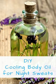 DIY cooling body oil recipe for night sweats that works for menopause or if you're just a hot sleeper. Made with all natural ingredients and essential oils.