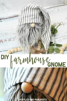 DIY Farmhouse Gnome in Only - No Sewing! This adorable farmhouse gnome only takes 20 minutes to make and will Quick Crafts, Crafts To Sell, Diy And Crafts, No Sew Crafts, Sell Diy, Decor Crafts, Home Crafts, Gnome Tutorial, Gnome Hat