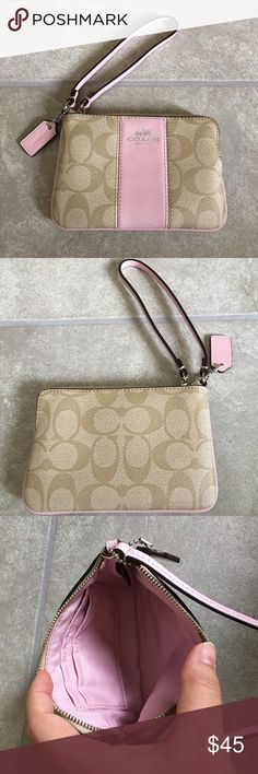 Authentic coach corner zip signature wristlet New never used. F64233. Crafted in soft pebble leather with subtle contrast trim, and equipped with a convenient strap for hands-free wear, this minimalist piece has just enough space for cards, cash and a phone. Applied hardware finishes the design with a heritage Coach accent.  Crossgrain leather  Two credit card pockets  Zip closure, fabric lining Coach Bags Clutches & Wristlets