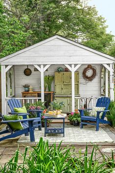 Add a covered porch and patio to an outdoor shed for the perfect backyard gathering spot.