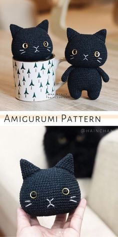 Black Cat Crochet Pattern, Amigurumi Tutorial by HaunChan A cute cat amigurumi pattern for beginners. Easy crochet cat tutorial by HainChan. Crochet Cat Pattern, Crochet Animal Patterns, Crochet Patterns Amigurumi, Stuffed Animal Patterns, Crochet Dolls, Easy Crochet Animals, Crochet Cat Toys, Doll Patterns Free, Chat Crochet