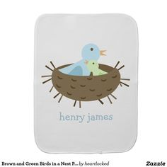 Brown and Green Birds in a Nest Personalized Baby Burp Cloth