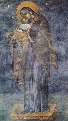 The Virgin of tenderness - La Vergine della tenerezza - Kariye-Camii ad Istanbul Religious Pictures, Religious Icons, Religious Art, Byzantine Art, Byzantine Icons, Madonna, Roman Church, Sacred Architecture, Blessed Mother Mary