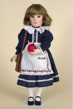Laura's First Day of School - Georgetown Collection limited edition porcelain wax over collectible doll by doll artist Brigitte Deval.