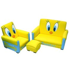 Warner Brothers Toddler Sofa, Chair and Ottoman Set, Tweety