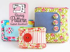 Zip Pouches PDF Sewing Pattern Sew 3 Sizes of by michellepatterns