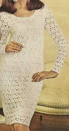 s Picot Lace Dress Crochet Pattern Long sleeved dress has a lace pattern of picot-crochet Unfitted body of dress is lined contrasting with see-through effect of close-fitting sleeves Picot loops Vintage Crochet Dresses, Crochet Bodycon Dresses, Black Crochet Dress, Crochet Skirts, Crochet Clothes, Knit Dress, Lace Dress, Dress Vintage, Picot Crochet