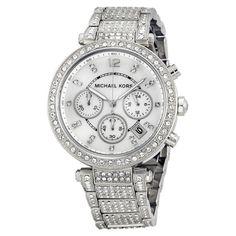 Michael Kors MK5572 Women's Chrono Parker Silver tone Glitz MOP Dial Watch NEW! #MichaelKors #Dress