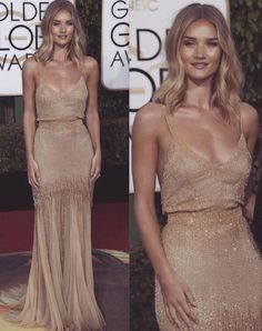 Gold dress and tan bod.