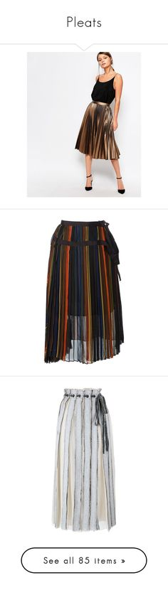 """Pleats"" by jennross76 ❤ liked on Polyvore featuring skirts, brown, metallic pleated skirt, white knee length skirt, midi skirt, brown skirt, knee length pleated skirt, black, colorful midi skirts and sacai"