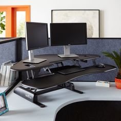 Amazon.com: Height-Adjustable Standing Desk for Cubicles - VARIDESK Cube Corner 48 - Black: Office Products