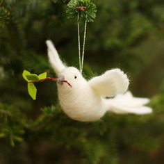 Peace Dove Needle Felted Wool Ornament by BossysFeltworks on Etsy