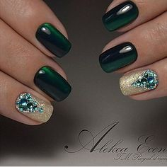 Green gold glitter precious glossy jewels for winter holidays and Christmas 2016