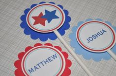 12 Boys Birthday or Baby Shower Cupcake Toppers - Sports All Star Theme - Red, White and Blue - http://babyshowercupcake-toppers.com/12-boys-birthday-or-baby-shower-cupcake-toppers-sports-all-star-theme-red-white-and-blue/