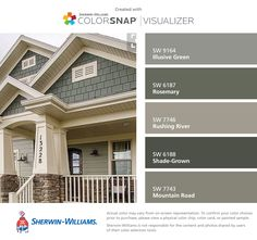 I found these colors with ColorSnap® Visualizer for iPhone by Sherwin-Williams: Illusive Green (SW 9164), Rosemary (SW 6187), Rushing River (SW 7746), Shade-Grown (SW 6188), Mountain Road (SW 7743).