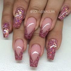 solinsnaglar | Instagrin | #pinknails #pinkglitternails