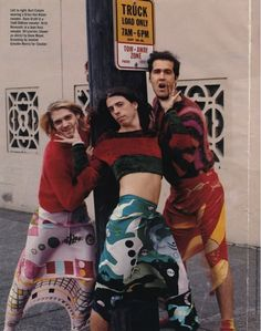 Kurt Cobain in a Dries Van Noten sweater, Dave Grohl in a Todd Oldham sweater, Krist Novoselic in a Joan Vass sweater, all scarves (worn as skirts) by Gene Meyer