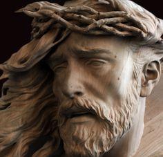 Wood Sculpture, Sculptures, Jesus Christ Statue, Jesus Face, Wood Carving Art, Sand Art, Sculpting, Shiva, Artisan