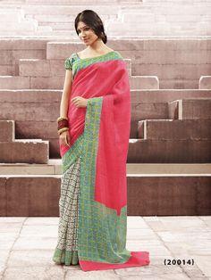 Red Color Accept Printed Designer Bhagalpuri Saree With Sea Green Color Blouse Lehenga Saree, Sari, Silk Sarees Online Shopping, Indian Sarees Online, Casual Saree, Salwar Kameez, Party Wear, Fashion Outfits, Red Color