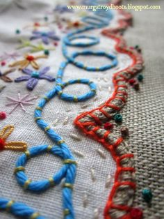 Couching thread on a border www.murgatroydhoots.blogspot.com