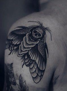 Moth Death Black Neo Traditional Dotwork   by Rafael Silveira, RJ Brazil