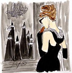 Holly Golightly Breakfast by Fifi Flowers   #fashion  #illustration