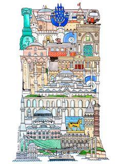 Istanbul - ABC illustration series of European cities by Japanese illustrator Hugo Yoshikawa