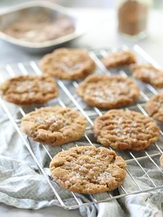 Gluten-free Flourless Chewy Peanut Butter Cookies #recipe on foodiecrush.com