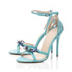 FSJ cyan sandal heels flora sandal heels ankle strap sandal shoes open toe sandals stiletto high heels summer and fall outfits dress outfits