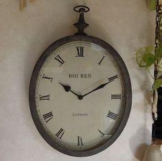 掛け時計 フレンチアンティーク ラスティーアイアン オーバルクロック