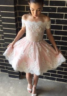 Off-the-shoulder Appliques Pink Lace Short Prom Dress Formal Dress