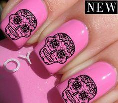 Sugar Skull Decal Designs for Nails Water Transfers Celebrity Style Manicure Sugar Skull Nails, Skull Nail Art, Sugar Skulls, Get Nails, How To Do Nails, Hair And Nails, Nail Time, Beautiful Nail Designs, Cool Nail Art