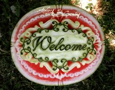 Items similar to welcome photography, instant - Food Carving Ideas Watermelon Fruit Bowls, Watermelon Designs, Watermelon Carving, Fruit Salads, Watermelon Patch, Jello Salads, B Food, Veggie Food, Food Sculpture