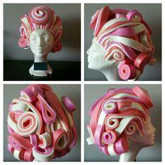 Foam wig model Trix, made by www.famouskostuums.nl