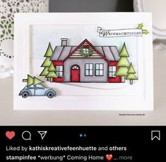Homemade Christmas Cards, Stampin Up Christmas, Christmas Items, Christmas Crafts, Xmas Cards, Holiday Cards, Box Frame Art, Stampin Up Weihnachten, New Home Cards