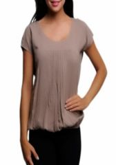 Natural -- Light Brown Tie Back Shirt  ~~ Your next outfit is one click away! Shop at www.SassyRiley.com