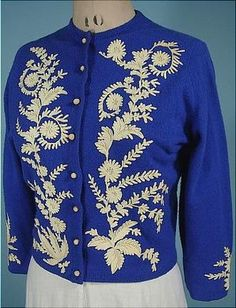 1950's Helen Bond Carruthers blue cashmere cardigan sweater with floral embroidery.