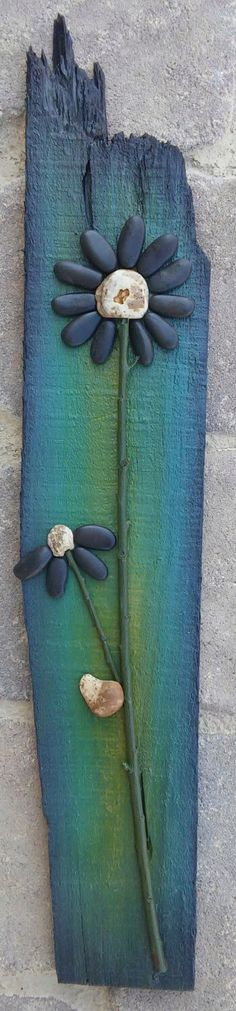 Pebble Art / Rock Art cute black flowers on stunning background, all natural materials incl. reclaimed wood, approx. 21x4 (FREE SHIPPING) by CrawfordBunch on Etsy https://www.etsy.com/listing/241353734/pebble-art-rock-art-cute-black-flowers