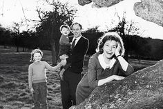 British author and poet Roald Dahl and his wife American actor Patricia Neal pose with their children Tessa and Theo, 1964.