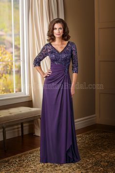 Jasmine Bridal Aunt of the Bride/Groom Dress Jade Couture Style K178015 in Bordeaux Eggplant Deep Purple. A special occasion dress that projects elegance and sophistication fit for any type of event. This dress has a classic V neckline and A-line skirt that is accentuated with intricate floral paillette and intricate ruching throughout the dress....
