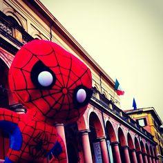 """""""Spideruccio in Via Zamboni #igersitalia_swspidermantour"""" #amazingspiderman"""