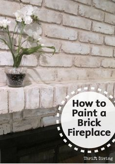 Easily refinish your old brick fireplace and give it a brand new look by painting it. Check out this great DIY tutorial for the best tips and tricks to make a big impact with a small budget. Make sure to add Bounty Paper Towels to your project supply list Distressed Fireplace, Painted Brick Fireplaces, Fireplace Update, Paint Fireplace, Brick Fireplace Makeover, Fireplace Mantle, White Washed Fireplace, Reclaimed Fireplaces, Brick Fireplace Remodel