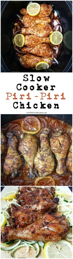 Healthy slow cooker / crockpot recipe -  Piri-piri chicken is a perfect dish for the slow cooker. A homemade spicy marinade cooks with chicken in this healthy version of an Portuguese classic.