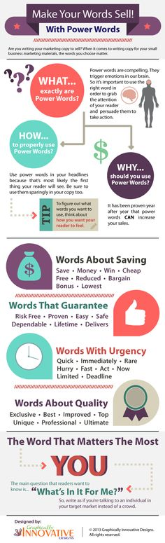 Make Your Words Sell! - With Power Words #infographic