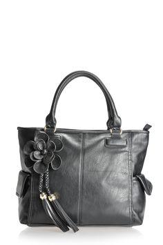 Maddi Christina shoulder bag with flower corsage and tassel detail