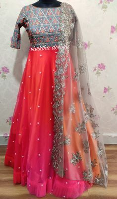Grey colour long frock with multi shades # designer long frock # long frock designs # boat neck # netted frocks Party Wear Long Gowns, Party Wear Frocks, Party Wear Indian Dresses, Indian Fashion Dresses, Indian Gowns Dresses, Long Gown Dress, Saree Dress, Long Frock, Long Gown Design
