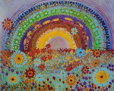 Mixed Media Painting, Mixed Media Collage, Mixed Media Canvas, Painting Abstract, Rainbow Connection, Star Art, Acrylic Canvas, Print Artist, Art Decor